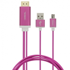 Micro USB to HDMI Cable MHL to HDMI HDTV Adapter Cable Cord for Samsung Galaxy S/Note 3/Note 2-Pink