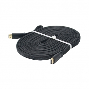 15ft 4.5M Braided Flat HDMI Cord Cable Gold Plated Connector - Oxygen-free Copper/Multi shielded