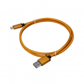 USB 3.1 Type-C to USB 3.0 A Male  Nylon weave Cable - 3.3 Feet-Orange