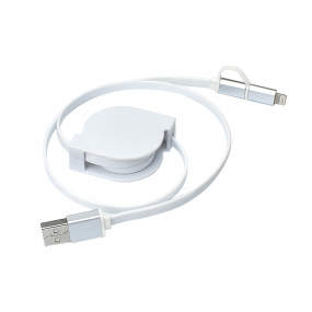2-in-1 Universal Android and iOS Retractable Lightning to USB Cable-Free Charger - White