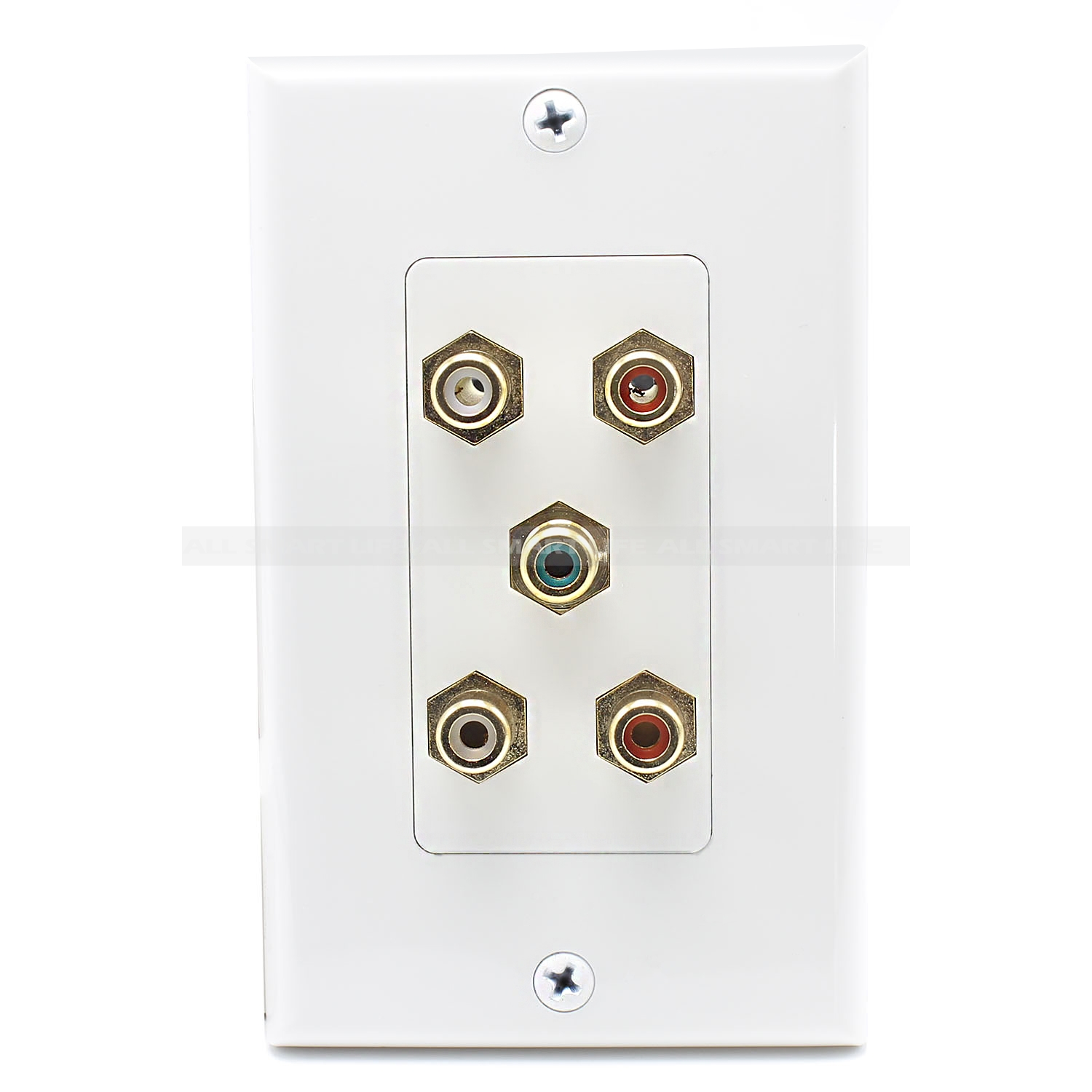 5 Port Rca Jack Connector Home Theater System Wall Plate