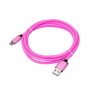 USB 3.1 Type-C to USB 3.0 A Male  Nylon weave Cable - 3.3 Feet-Pink