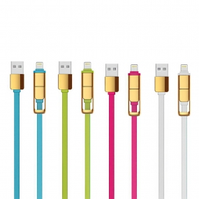 USB Link Short 2-in-1 Sync Lightning Cable for Smartphones & Tablets