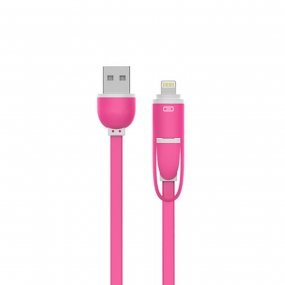 USB Link Data & Charging Cable Sync Lightning Support Iphone6/6s and Android SmartPhone-Pink