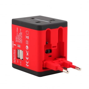 World Wide Travel Charger Adapter Plug Built-in Dual USB FOR All International Plug - Red