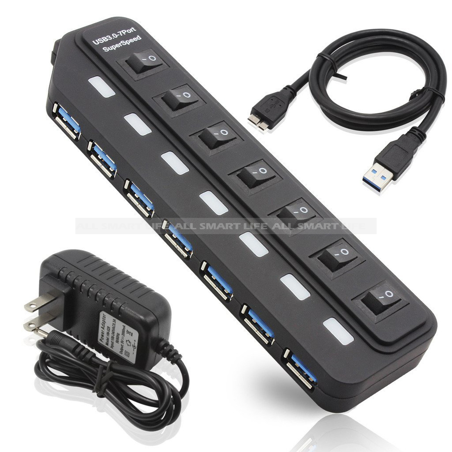 2016 New 7 Port Usb 3 0 Hub With 12v 3a Power Adapter And