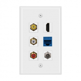 Combined 3xRCA 1xHDMI 1X Cat6 and 1xCoax Cable TV Port Wall Plate