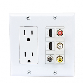 2 x 15 Amp 125V Power Outlet 3 x RCA - 2 X HDMI and 1 x Coax Cable TV Port Wall Plate White