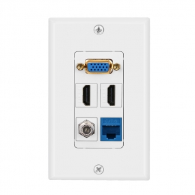 Combined panel with 1 port VGA  2 port HDMI 1 F Type 1 cat6 wall plate