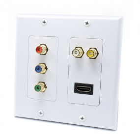 [2-Gang RCA + HDMI Wall Plate] AllSmartLife 5 RCA + 1 HDMI Port Wall Plate in White
