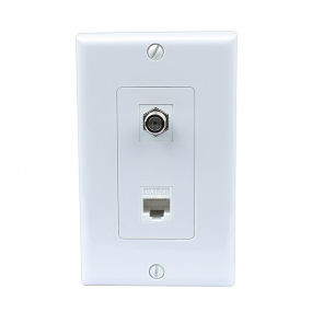 Brand New 1 Coax F Type and Cat5e Ethernet Port Wall Plate White