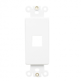 Custom and Design QuickPort Decora Wall Plate Insert for 1-Port Keystone Jack - White