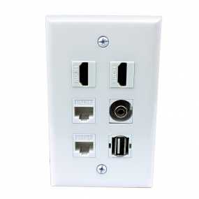 Multi Panel include 2 port HDMI and 2 port CAT5e and 1 port USB and 1 port 3.5MM wall plates