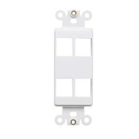 Custom and Design QuickPort Decora Wall Plate Insert for 4-Port Keystone Jack - White