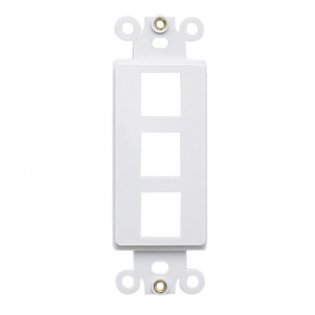 QuickPort Decora Wall Plate Insert for 3-Port Keystone Jack - White