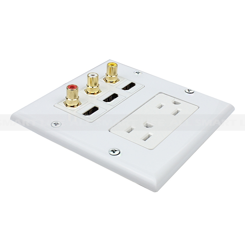 Combination 2 X 15 Amp 125v Power Outlet 3 X Rca 3 X Hdmi