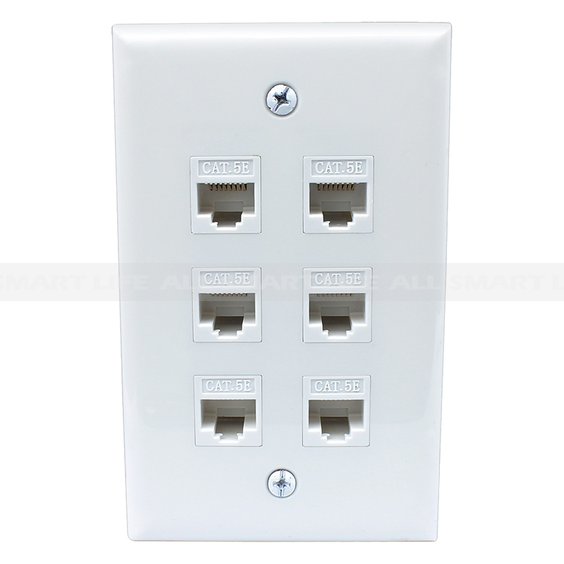 Home Decoration 6 Port Cat5e Female Female Wall Plates