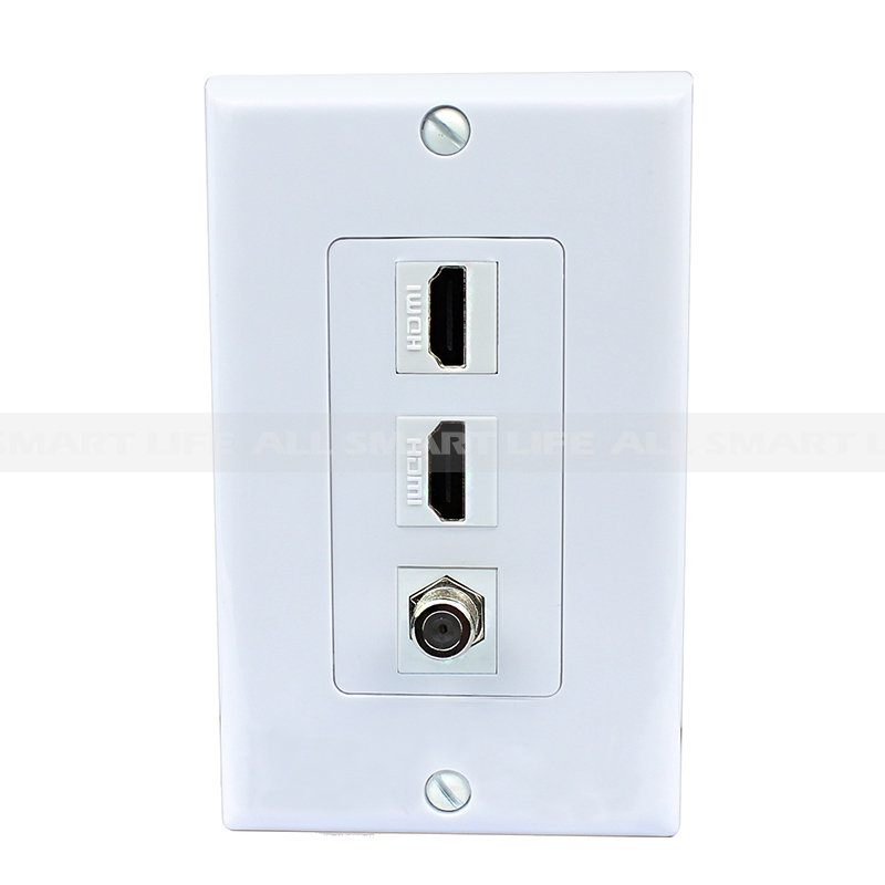 home wall plates hdmi wall plate multi panel home decoration 2 port hdmi and 1 port coax cable tv port wall plate white