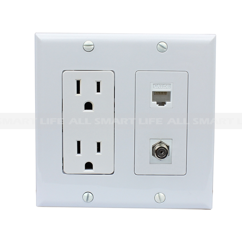 15 amp power outlet 1 port coax 1 port shielded cat5e ethernet decora wall  plate