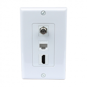 1 Port HDMI and 1 Port Coax Cable TV- F-Type and 1 Port Cat6 Ethernet White Decora Wall Plate Decora