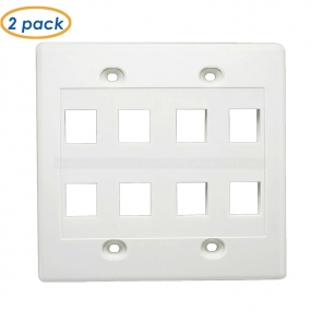 (2-Pack )2 Gang, 8 Port Cat6/Cat5e Keystone Wall Plate