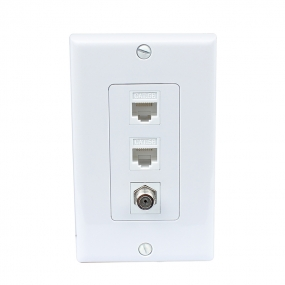 1 Port Coax Cable TV- F-Type 2 Port Cat5e Ethernet White Decora Wall Plate Decora