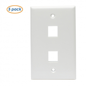 (5 Pack) Wall Plate with 2-Port Keystone Jack in White