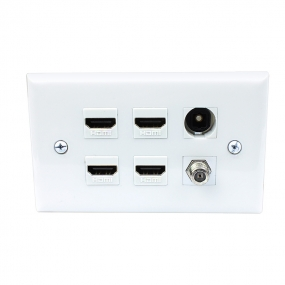 Combined 4 HDMI and 1 Coax Cable TV and 1 Toslink Port Wall Plate
