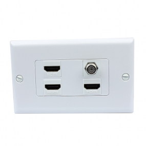 Easy Installation 3 x HDMI and 1 x Coax Cable TV F Type Port Wall Plate White Decorative