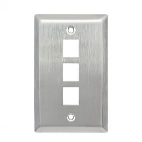 Stainless Wall Plate 1-Gang,RJ11/RJ45/CAT5 Face Plate (3 Ports)