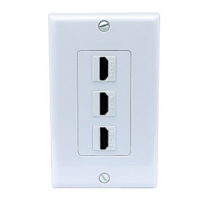 3 Port HDMI 2.0 Keystone Wall Plate (White)