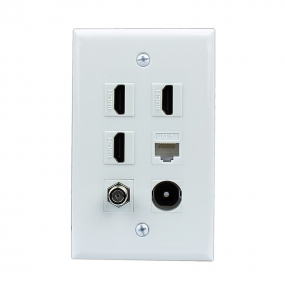 Combination 3 Port HDMI and 1 CAT5e and 1 port F type and 1 Port Toslink Wall Plate