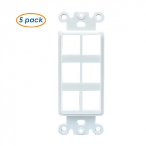 (5 Pack) QuickPort Decora Wall Plate Insert for 6-Port Keystone Jack - White