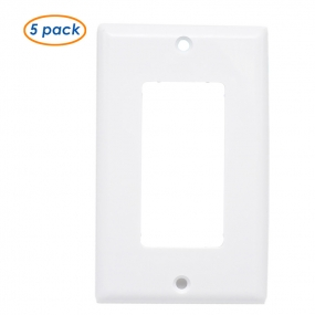 (5 Pack) 1-Gang Decora/Decora Wallplate, Standard Size, Thermoset, Device Mount, White