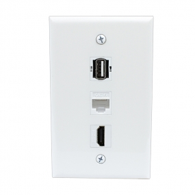 Combination 1 Port HDMI and 1 Port USB A-A and 1 Port Cat6 Ethernet White Wall Plate