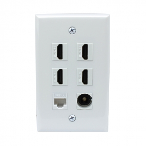 Combination 4 Port HDMI and 1 CAT5e and 1 Port Toslink wall plate covers