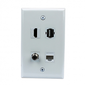Combined 1 Port HDMI and 1 Port Coax Cable TV- F-Type and 1 Port USB1 Port Cat5e Ethernet Wall Plate