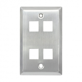 Stainless Steel wall  Plate,1-Gang,Cat5 Wall Plate (4 Ports)