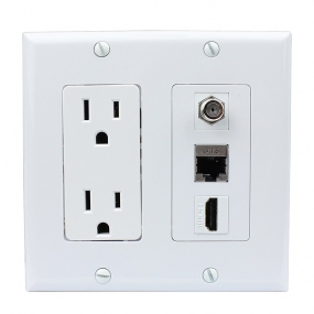 Combination 15 Amp Power Outlet and 1 Port Coax Cable TV- F-Type and 1 HDMI and 1CAT6 Wall Plate