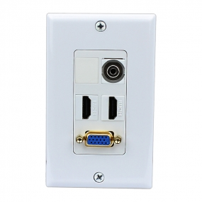 2 HDMI and 1 VGA and 1 3.5mm Audio wall plate