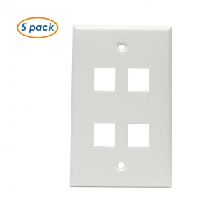 (5 Pack) Wall Plate with 4-Port Keystone Jack in White