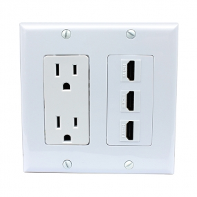 Combination 15 Amp Power Outlet 3 Port HDMI Decora Wall Plate