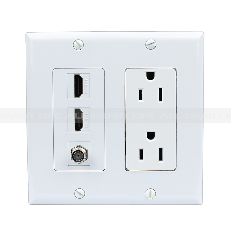 bination 15 power outlet 2 port hdmi 1 port coax decora wall HDMI Cable Outlet home wall plates hdmi wall plate bination 15 power outlet 2 port hdmi 1 port coax decora wall plate