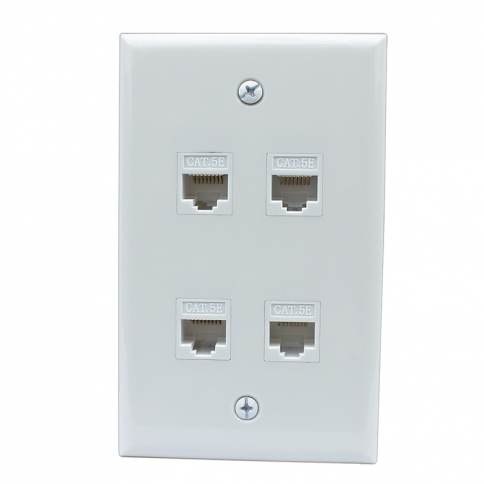 New 4 Port Cat5e Female Female Wall Plates
