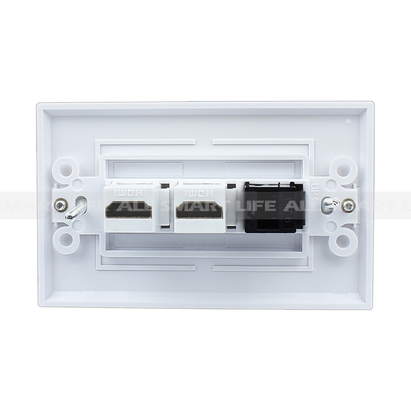Combination 1 Cat6 Black Ethernet Port and 2 HDMI Female Decorative ...