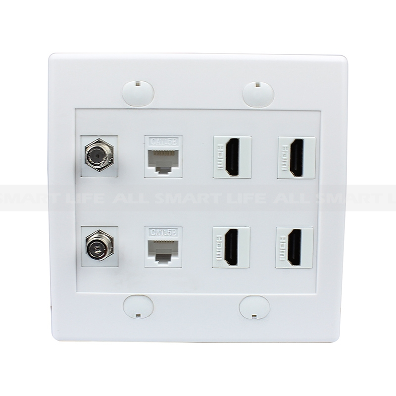 home wall plates hdmi wall plate combination 2 port coax cable tv f type 2 cat5e ethernet and 4 hdmi wall plate