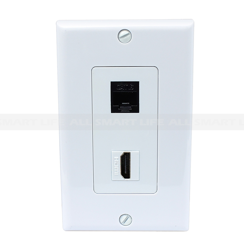 New Combined 1 Cat6 White Ethernet And 1 Hdmi Port Wall Plate