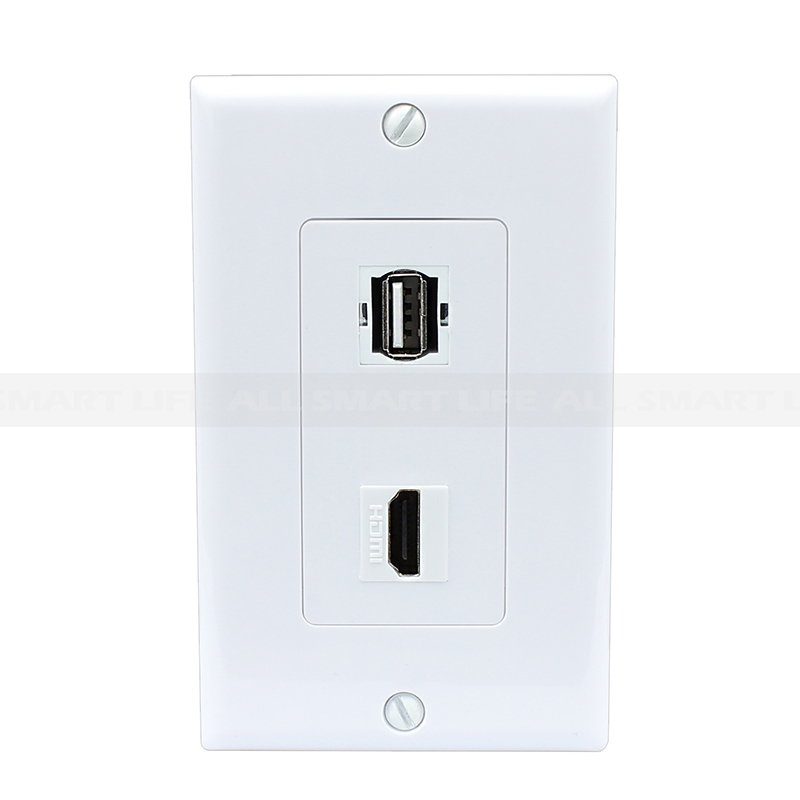 Combination 1 Usb A A And 1 Hdmi Port Wall Plate White