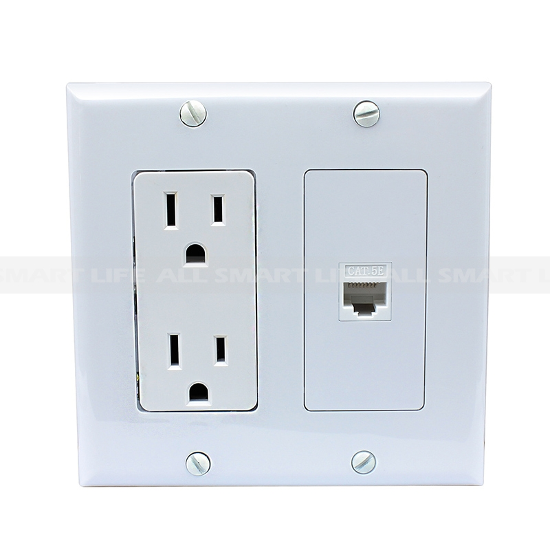 Ethernet Network Cat5e Wall Plate - Dual (2 Port) RJ45 Connector ...