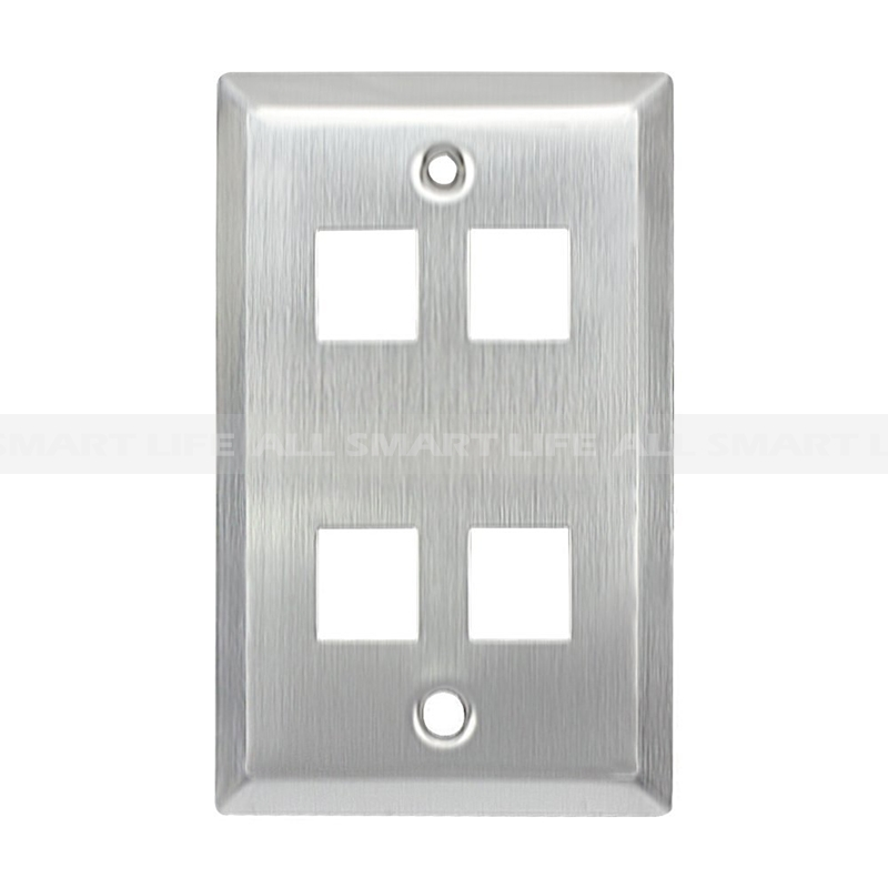 4 port Keystone wall plate brushed stainless steel